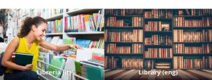 Italian false friend libreria vs library comparison