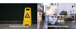 Italian false friend avvertimento vs advertisement comparison