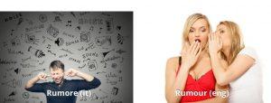 Italian false friend rumore vs rumour comparison